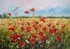 Makowa łąka, DUŻY obraz olejny 100X70 kwiaty, pejzaż Gdańsk - image 1