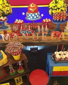 aniversário mulher maravilha Wonder Woman Birthday, Wonder Woman Party, Birthday Woman, 10th Birthday Parties, Birthday Party Decorations, Party Themes, Party Ideas, Most Popular Birthday, Girl Superhero Party