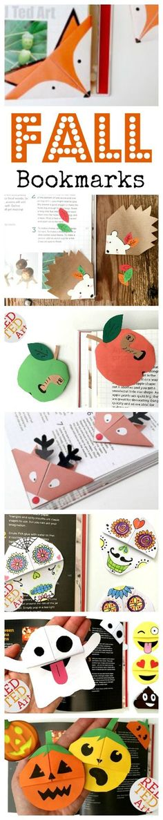 Love these DIY Fall Bookarks. Corner Bookmarks are so fun to make and we have come up with tons of new Corner Bookmark Designs for you - making Fall reading FUN!