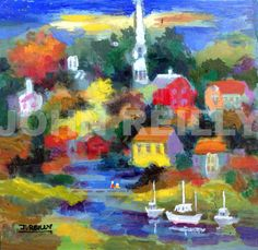 Painting — Brilliant Sails, by John Reilly, NJ artist, Seascape, Unframed Fine Art, Impressionistic Painting, Modern Artwork