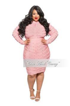 fa4ed60432 Final Sale (Seasonal) Plus Size BodyCon Mesh Panel Dress with Sheer Top in  Blush