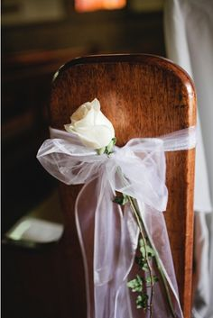Wedding Roses single rose pew ends. i think it would be romantic with a red rose for valentines dayl Wedding Pews, Wedding Chairs, Wedding Flowers, Rose Flowers, Wedding Church, Red Roses, Wedding Blue, Gothic Wedding, Summer Wedding