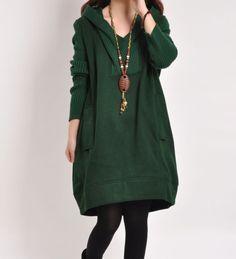 2 Colors Handmade Sweater Dress Long Sleeve by Lovelovegift, $66.90