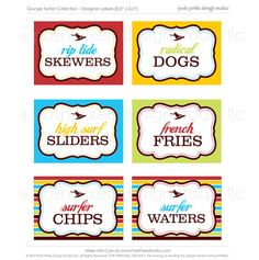 super cute labels for surfer boy party food