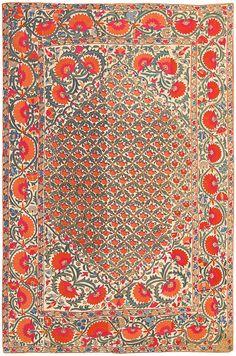 Antique Silk Uzbek Suzani Textile 48584