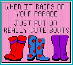 When it rains on your parade just put on really cute boots... needlepoint pattern
