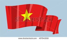 National waving flag vector editable banner ribbon country world Vietnam yellow star red flag Asia - stock vector