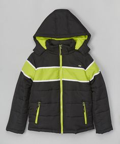 Black & Lime Stripe Puffer Coat - Infant #zulily #zulilyfinds