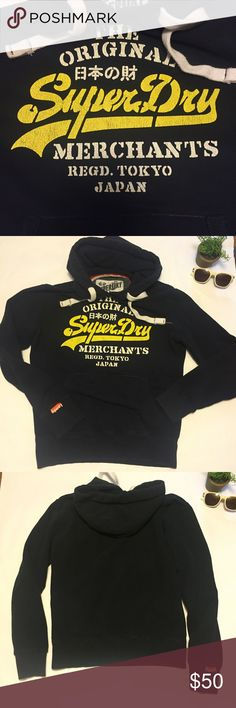 Super dry Merchants Tokyo Japan hoodie Super dry the original merchants Tokyo Japan black hoodie EUC tags says Sz S men's .I think it's like a Brandy Melville Sweatshirt as far as fit goes , maybe a little bigger . See bust measurement for fit. Ask Q's or just buy it 😊it's in great condition . Superdry Shirts Sweatshirts & Hoodies