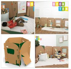 Elephants design BOOKTENT! Easy to assemble and placed against the wall after playing! Great product for the preschool and school age children! Help your child improve reading skill. BOOKTENT is the world's first educational toy where children can build their own creative space utilizing panel-form structures with open ended and various kind of materials!