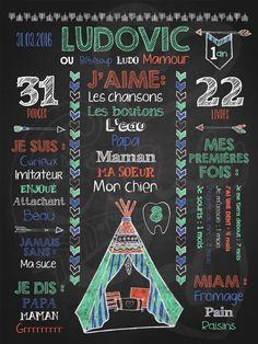 Affiche personnalisée 1er anniversaire Pow Wow! (menthe)   28,00$ #chalkboard #lacraieco #tipi #fleche