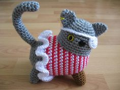 #crochet pirate kitty  Very cute!  Love the little peg leg. Pattern from Japanese book Amigurumi 2
