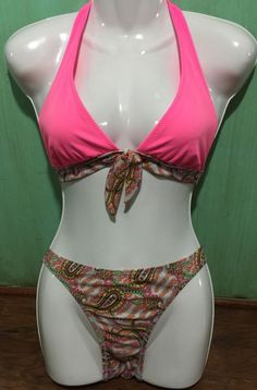 Women's DKNY Bathing Suit Bikini Pink Paisley Lined Size M | eBay