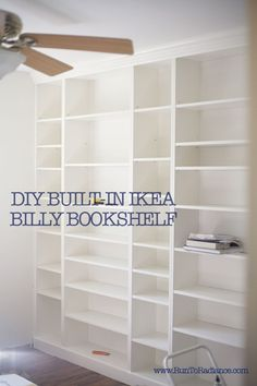 create DIY built in bookshelves using ikea billy bookcases...