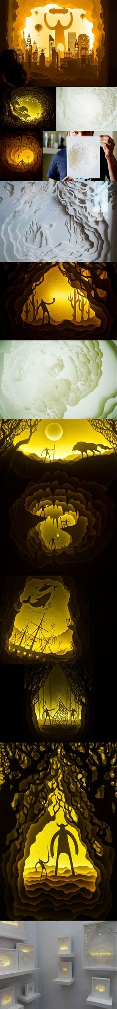 Beautiful illuminated paper cut light box dioramas