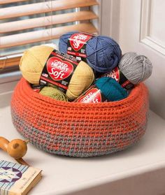 Glowing Embers Crochet Basket | Use two colors of yarn for a contrasting/fading feel to this crochet basket pattern