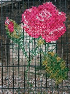 possibly cross stitch on chicken wire???