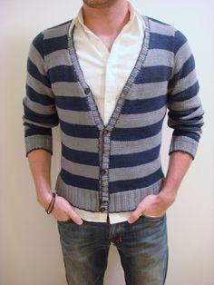 Ravelry: Men's Striped Cardigan pattern by Josh Bennett