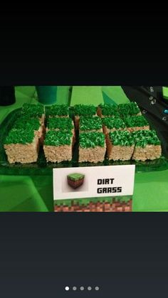 """Minecraft party food/snack idea.  """"Dirt grass"""" rice krispy treats. ---edited so it goes to correct link with TONS of Minecraft party stuff---"""
