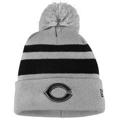 ff4c71c44cfe2 Men s Cincinnati Reds New Era Gray Black Rebound Cuffed Knit Hat with Pom