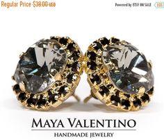 Black diamond Swarovski earrings Crystal earrings by MayaValentino
