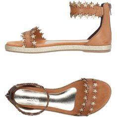 Cafènoir Sandals (2.895 CZK) ❤ liked on Polyvore featuring shoes, sandals, camel, flat shoes, rubber sole shoes, flat sandals, zipper shoes and camel sandals