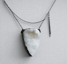 the space betweenwhite drusy necklace in oxidized by LaurelsBench, $175.00