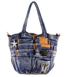What an interesting use of old jeans.  I don't think I would add that many layers, but I really like the idea.