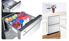 """Uncounter luxurious stainless steel fridge love it ...Summit SP5DS2DSSHH Built-in Undercounter Refrigerator - 23.9"""" tall"""