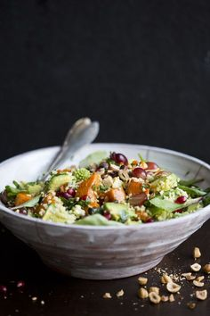 It's fun to rotate unusual whole grains throughout the week. I'm into millet lately, so this winter salad with squash + hazelnuts sounds just right. // via Green Kitchen Stories