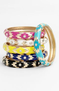 CeciStyle V96: Prints Charming: Get the Look: COLORFUL ARRANGEMENT  Slip on one – or all! – of these ikat bangles from Sequin ($30, nordstrom.com) for a summery pop of color.