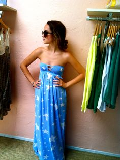 Amazing blue and white maxi dress with white stars. https://www.facebook.com/IslaBoutique