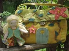 cottage purse and tiny waldorf doll