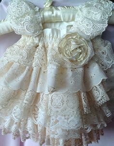 Flower Girl,Ivory Ruffled vintage lace . Birthday, special occasion Dress by Rosanna Hope for Babybonbons