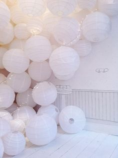 White Paper Lanterns & Fairy Lights x Design Set, Beauty And More, Party Fiesta, Paper Lampshade, Shades Of White, My New Room, Event Decor, Wedding Decorations, Wedding Inspiration