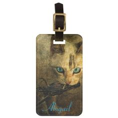 Abigail with prey blue eyes cat personalized tags for luggage