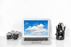 MacBook, office supplies and camera by LiliGraphie on Creative Market