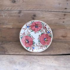Antique French terracotta  floral glazed Plate by MaisonW