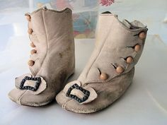 RARE Victorian Baby French Pink High Top Button Leather Shoes Boots