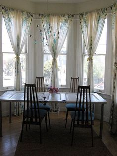 These Style Curtains For My Bay Windows Dining Table Set Within Not A