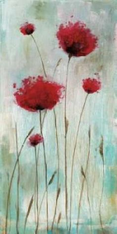 Splash Poppies I Poster Print by Catherine Brink (24 x 48)