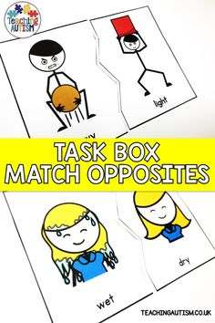 Do your students struggle with matching opposites? If so, these task cards are perfect to add to your autism and special education work task boxes for independent work. Autism Teaching, Autism Activities, Autism Classroom, Kindergarten Activities, Sorting Activities, Classroom Setup, Classroom Resources, Teaching Resources, Work Task