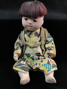 "Antique 9"" Pre-War Early Jointed Gofun Ichimatsu Baby Boy Doll Silk Kimono Obi"