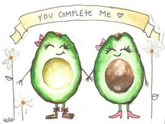 Avocado Greeting Card Handpainted by LeahOutsideTheLines on Etsy