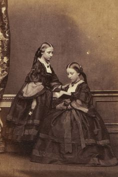 Portrait of Princess Louise and Princess Helena, two of the daughters of Queen Victoria and Prince Albert