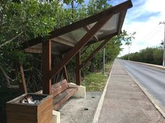Cantilevered bus stop shelter.