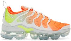 Nike Grey and Orange Air Vapormax Plus Sneakers Sports Trainers, Nike Trainers, Sneakers Nike, Sneakers Street Style, Nike Outfits, Athleisure, What To Wear, High Top Sneakers, Orange