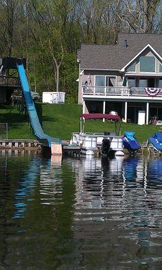 lake house water slide
