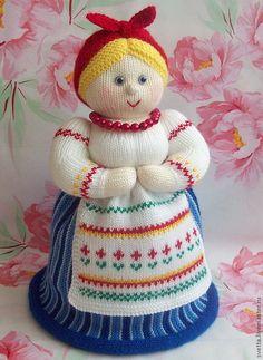 """Купить """"Дуняша"""" вязаная кукла-грелка для чайника - кукла, грелка, грелка для чайника, кухня, уют ♡"""