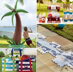 How adorable are all these item?  - a palm tree sprinkler to run through - snow cone maker to make special treats for your friends -beach totes to hold all the summer essentials -foam hopscotch, always been a favorite to play